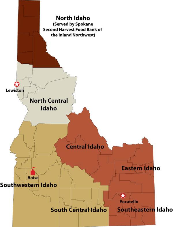 Idaho Foodbank Service Areas