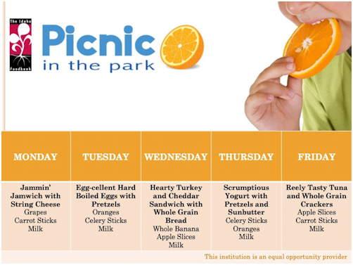 Picnic in the Park Menu